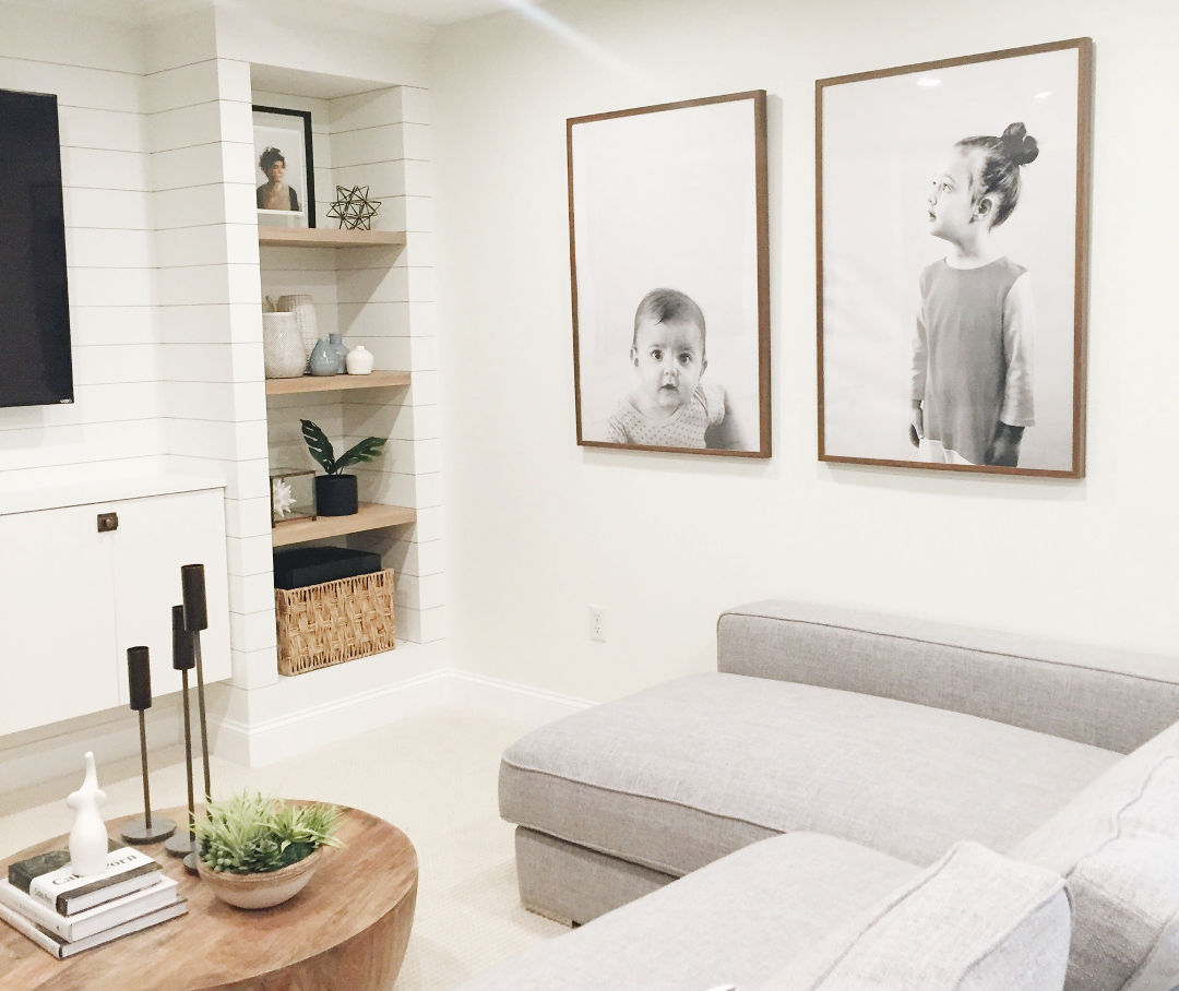 large modern family photo display